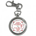I Love U Every Second Key Chain Watch