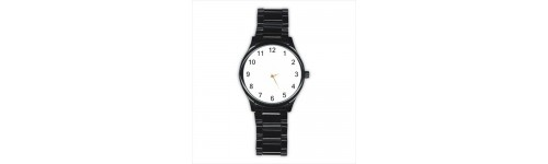 Mens Black Stainless Steel Round  Watches
