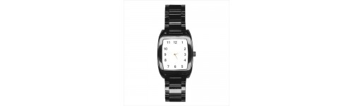 Mens Black Stainless Steel Barrel Style Watches